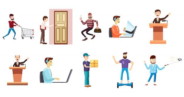 Personas con conjunto de caracteres objeto. conjunto de dibujos animados de personas con objetos