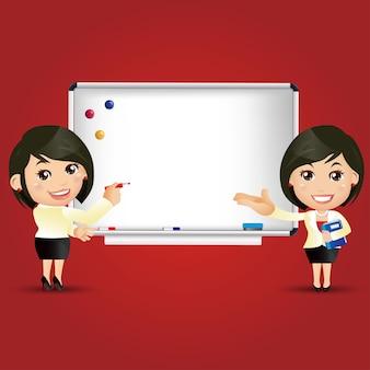Personas conjunto educación profesora mujer pizarra