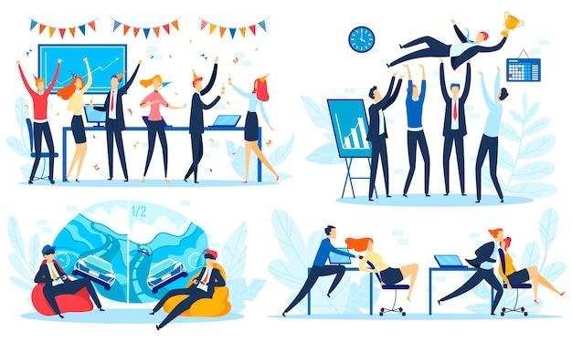 Personas en conjunto de ilustración de vector de fiesta corporativa, empresario de oficina plana feliz de dibujos animados, empresaria