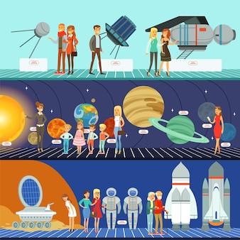 Personas en el conjunto del planetario, ilustraciones horizontales del museo de educación de innovación