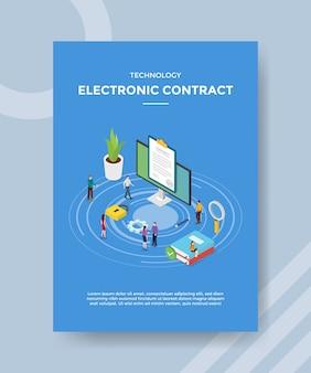 Las personas con contrato electrónico dan un acuerdo sobre internet de la computadora para la plantilla del volante