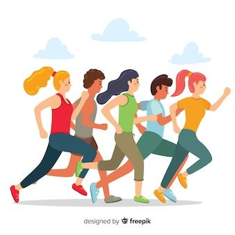 Personas corriendo en una maratón
