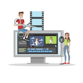 Las personas crean videos usando un editor digital y graban voz