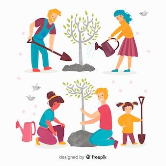 Personas cuidando el jardín