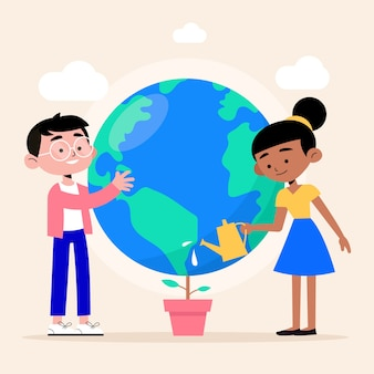 Personas cuidando su planeta