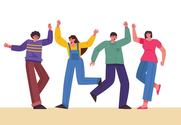 Personas dando cinco tema para ilustración