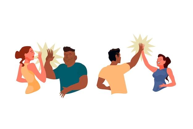 Personas dando concepto de cinco