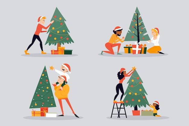 Personas decorando set de navidad