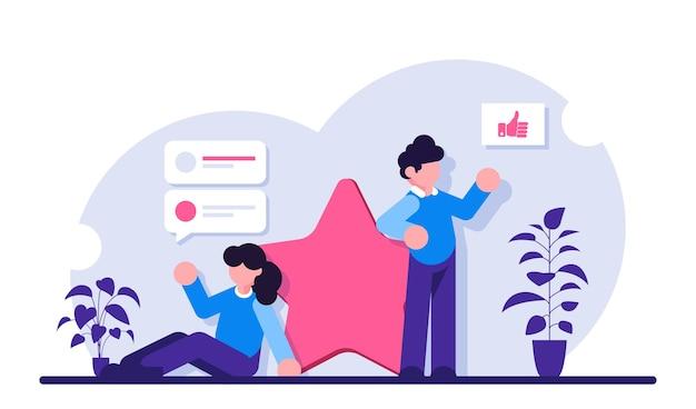 Las personas dejan comentarios y opiniones con una puntuación de cinco como la más alta. evaluación de un producto o servicio. una persona comparte su opinión.