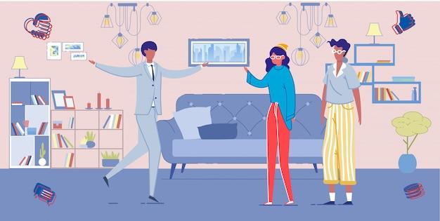 Personas dentro de una sala de estar