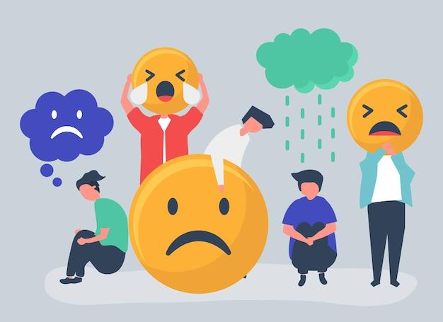 Personas con depresión e infelicidad.