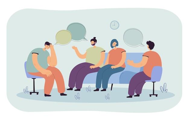 Personas deprimidas que asesoran con psicólogo ilustración plana aislada. ilustración de dibujos animados