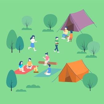 Personas descansando en el campamento