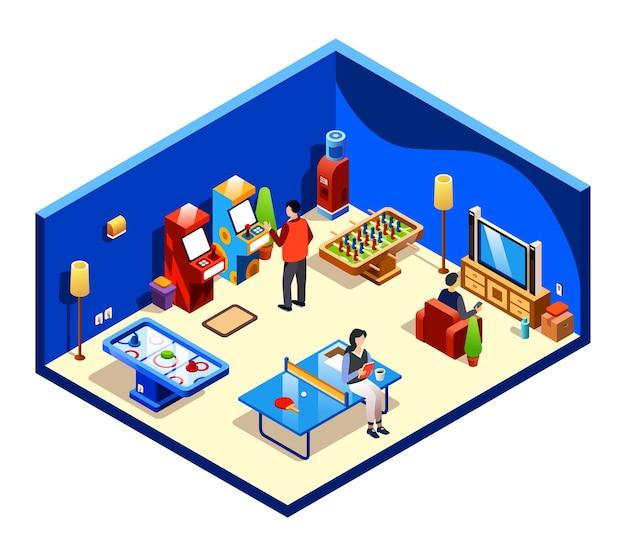 Personas descansando en la sala de recreación de sección transversal con entretenimiento y diversiones