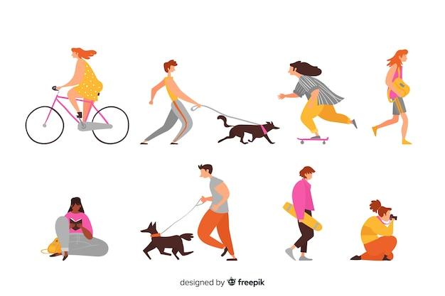 Personas dibujadas haciendo actividades al aire libre