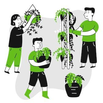 Personas dibujadas a mano cuidando plantas.