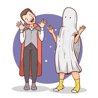 Personas dibujadas a mano halloween con disfraces.
