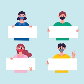 Personas dibujadas a mano en máscaras médicas con carteles.