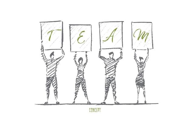 Personas dibujadas a mano de pie y sosteniendo letras