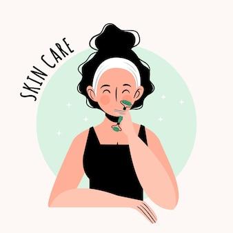 Personas dibujadas a mano plana con ilustración de rodillo de jade