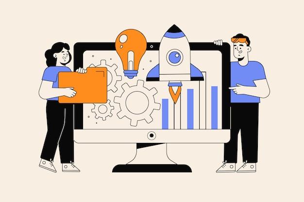 Personas dibujadas a mano plana iniciando un proyecto empresarial
