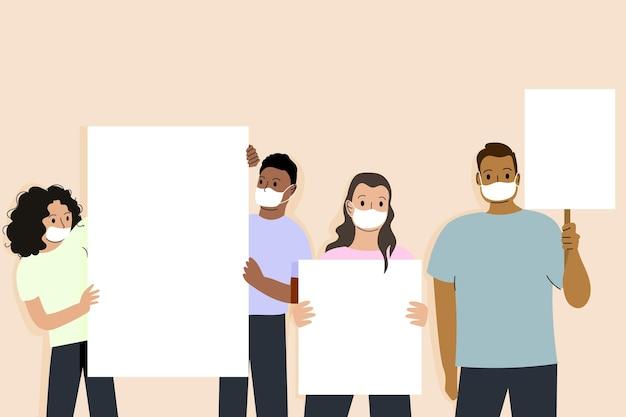 Personas dibujadas a mano plana en máscaras médicas con carteles en blanco
