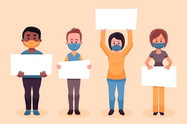 Personas dibujadas a mano plana en máscaras médicas con carteles ilustración