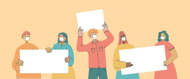 Personas dibujadas a mano plana en máscaras médicas con carteles