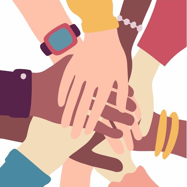 Personas con diferentes colores de piel juntando sus manos sobre fondo blanco arte vectorial plana