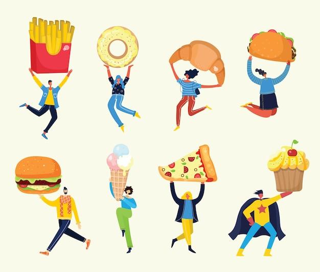 Personas con diferentes comidas.