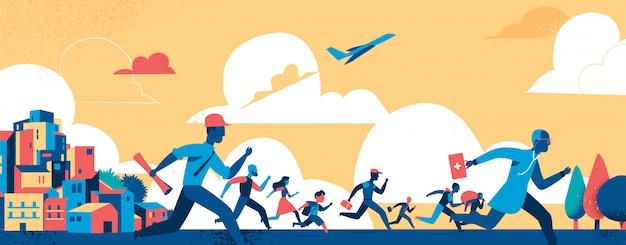 Las personas de diferentes edades, la ocupación, escapan de la vida moderna de la ciudad a una forma de vida más natural.