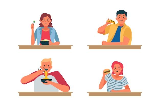 Personas con diferentes hábitos alimenticios.
