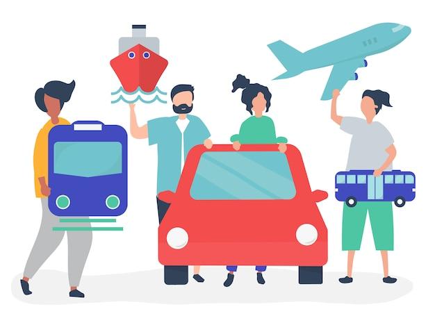 Personas con diferentes iconos de transporte