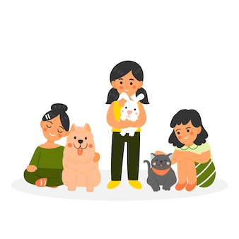 Personas con diferentes mascotas sobre fondo blanco.