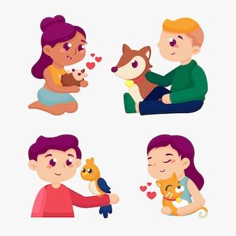 Personas con diferentes mascotas
