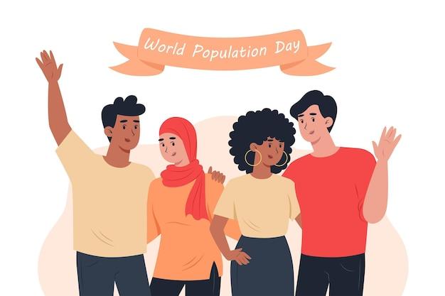 Personas de diferentes nacionalidades del día mundial de la población se abrazan