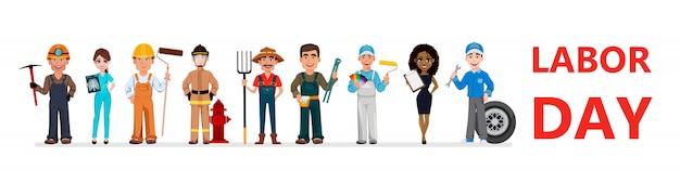 Personas de diferentes ocupaciones. día laboral