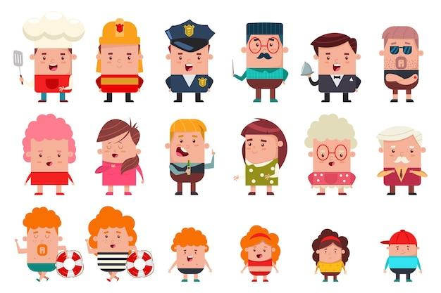 Personas de diferentes ocupaciones y edades.