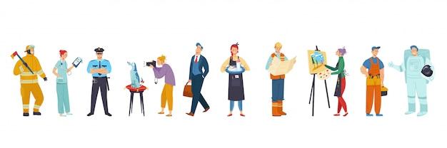 Personas de diferentes ocupaciones, personajes de dibujos animados conjunto de profesiones, ilustración