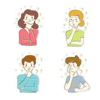 Personas en diferentes poses piensan aislado en blanco