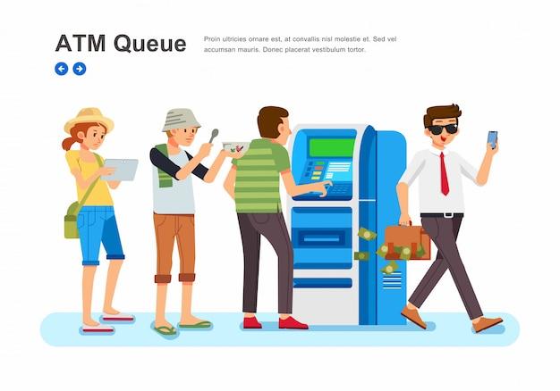 Las personas con diferentes profesiones se alinean frente a la ilustración isométrica del cajero automático