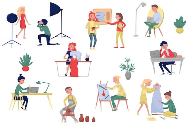 Personas de diferentes profesiones artísticas. fotógrafo y modelo, fashion e interioristas, freelancers y artistas. conjunto
