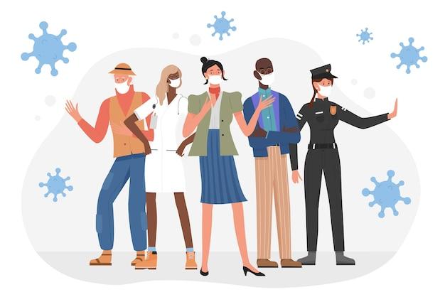 Personas de diferentes profesiones y edades en máscaras protectoras.