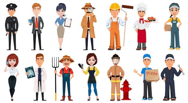 Personas de diferentes profesiones.