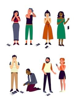 Personas de diferentes razas y géneros dejan caer su teléfono. la gente llora con el teléfono inteligente de pantalla rota. gente asustada y triste con teléfono roto.