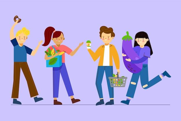 Personas con diferentes tipos de comida.