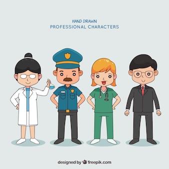 Personas con diferentes trabajados en estilo hecho a mano