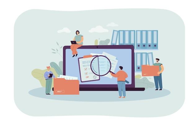 Personas diminutas con documentos organizados y computadora portátil con archivos