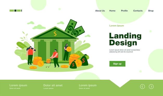 Personas diminutas que depositan o toman dinero de la página de destino de un banco gubernamental en estilo plano