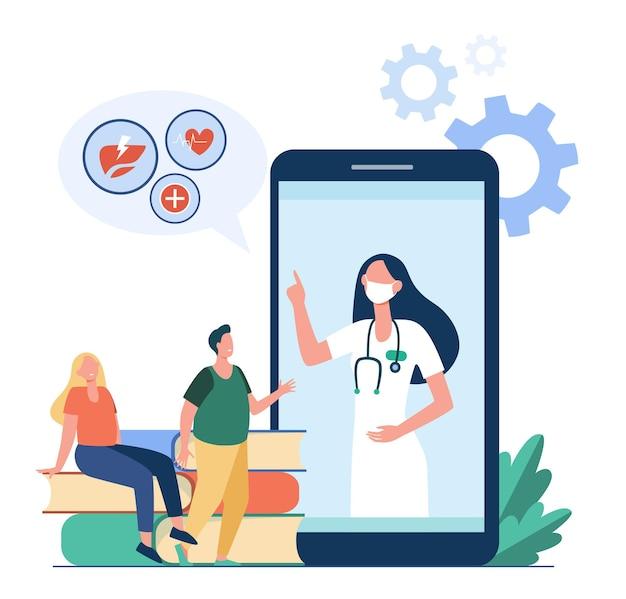 Personas diminutas que escuchan las recomendaciones del médico desde el teléfono móvil. ilustración de dibujos animados